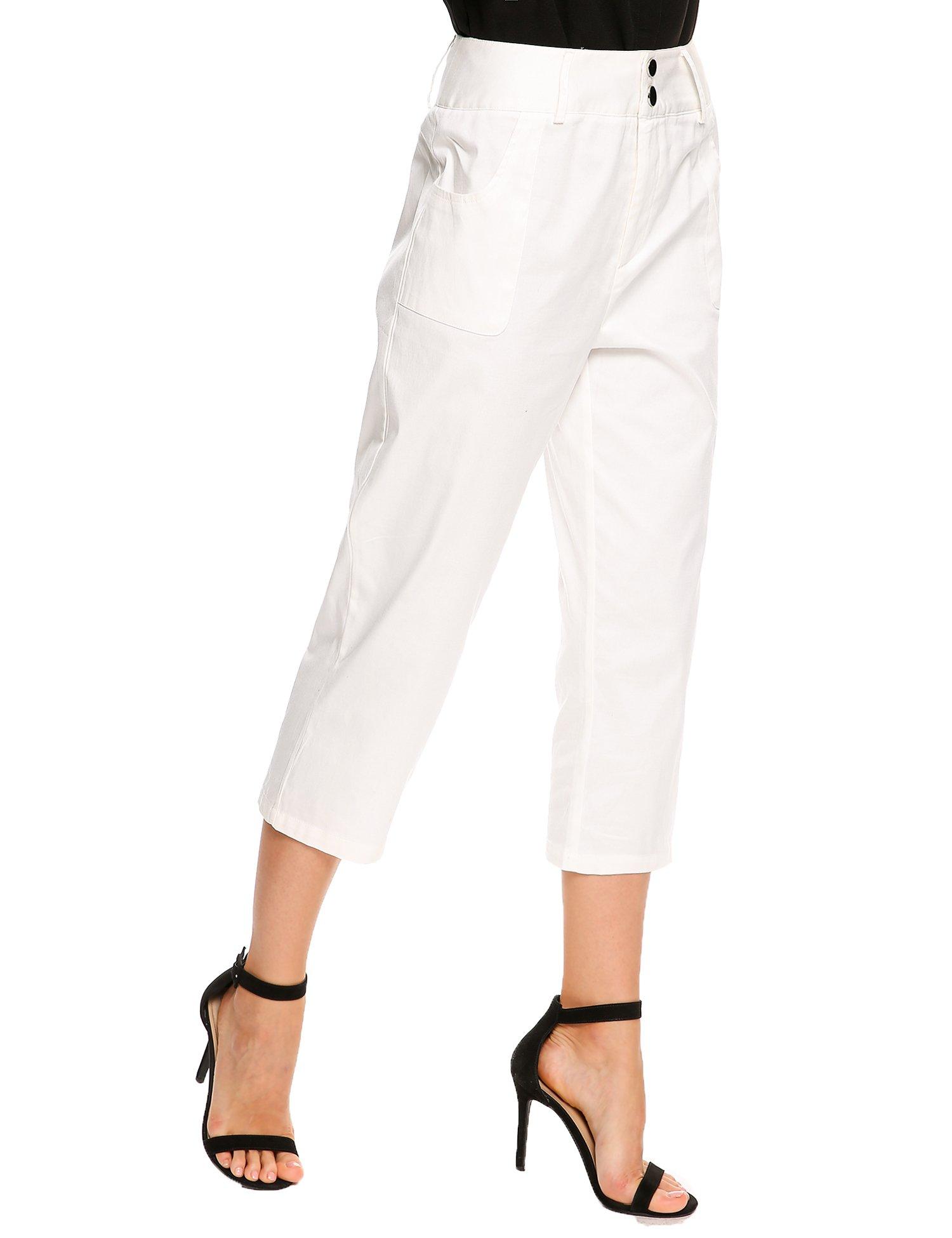 Zeagoo Women High Waist Zip Fly Solid Slim Work Casual Capri Pants