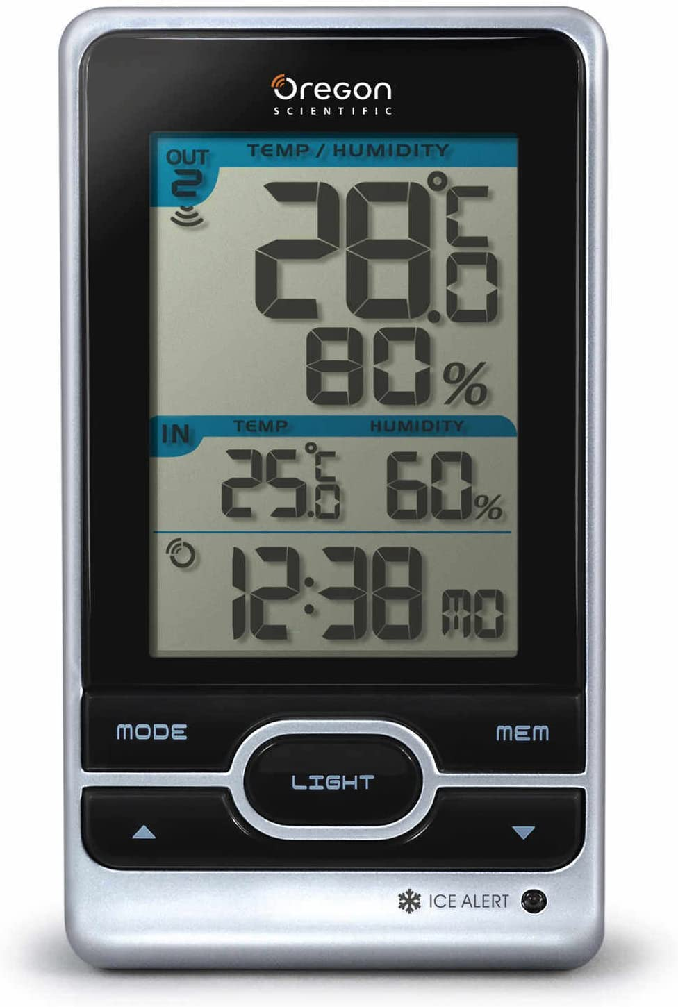 Oregon Scientific RMR203HGA Indoor/Outdoor Temperature & Humidity Station with Atomic Clock