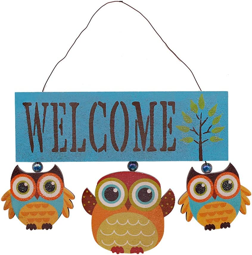 YK Decor Wooden Owl Welcome Door Sign Decorative Hanging Welcome Sign for Front Door Home Decor 6.8X 8.8 x 0.25 inches (Blue)