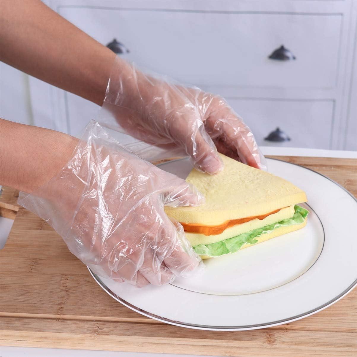 DOITOOL 400 Piezas de Guantes de Pl/ástico Transparente Guantes de Preparaci/ón de Alimentos Desechables para Cocinar Limpiar Manipular Alimentos Guantes de Pl/ástico Desechables de Grado Alimenticio