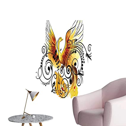 Amazon Com Wall Painting Bird Phoenix Floral Ivy Leaves With Wings