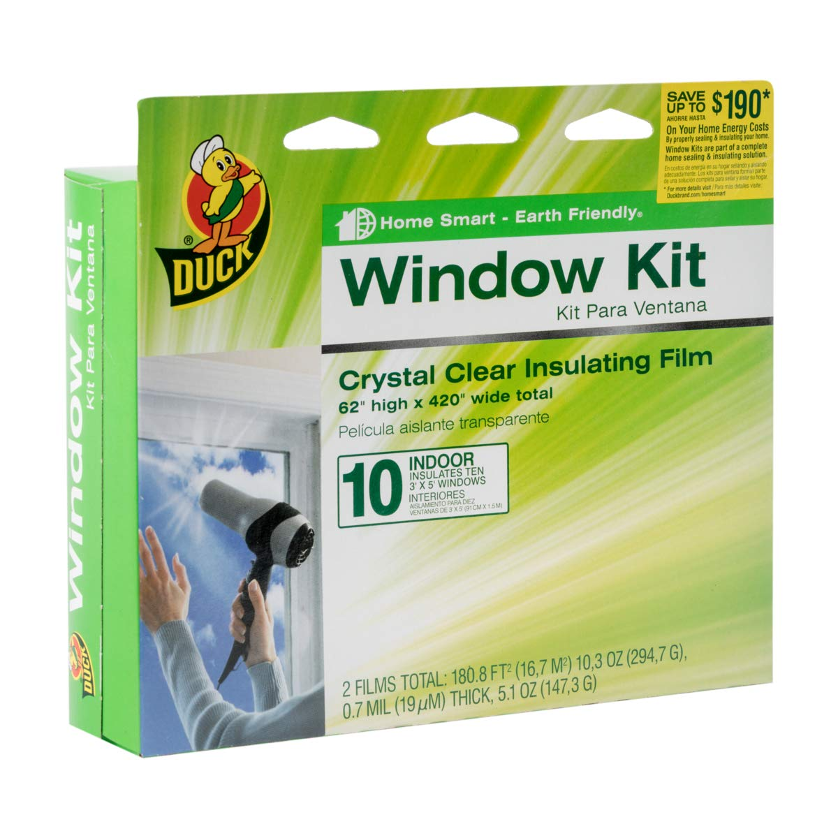Duck Brand Indoor 10-Window Shrink Film Insulator Kit, 62-Inch x 420-Inch, 286216