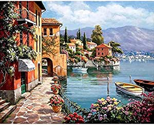 Villa Garden Oil Painting DIY Paint By Numbers For Adult Kids Modern Canvas Wall Art