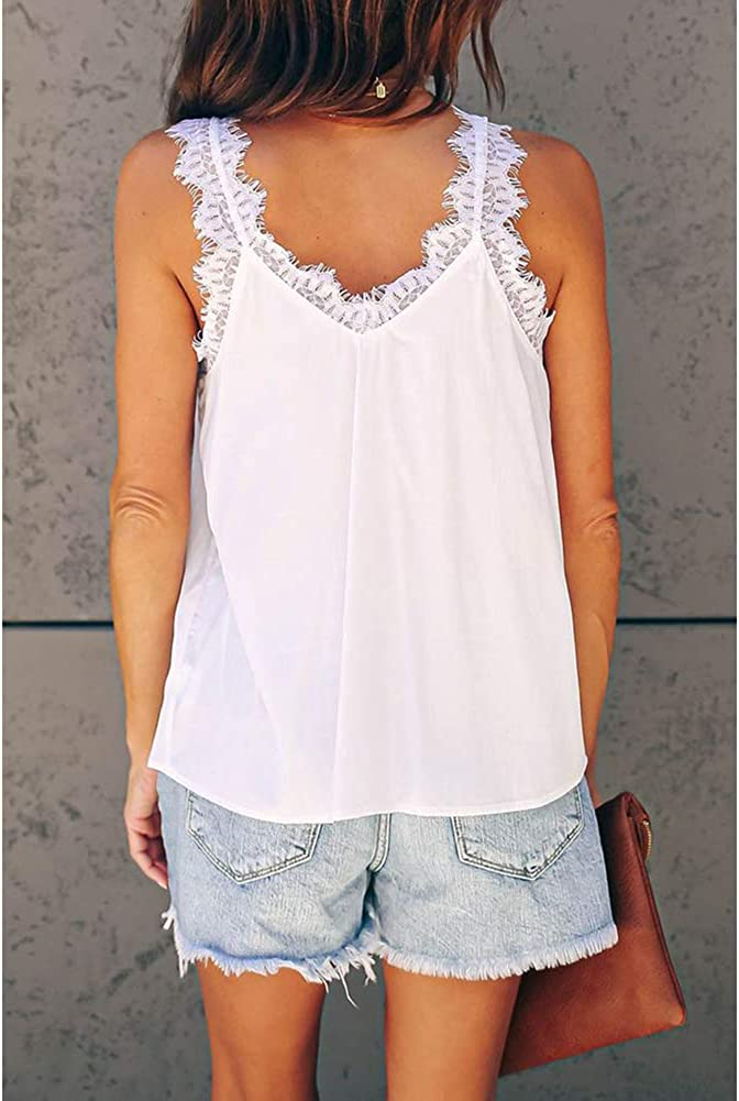 YOUNGSUN Womens Lace Trim Strappy V Neck Vests Blouse Solid Sleeveless Tanks Tops Camis Loose Tees Shirts