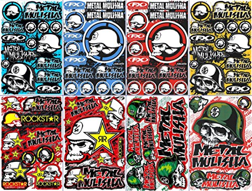 (8 Rockstar Energy Drink Metal Mulisha Yamaha Kawasaki Motorcross Race Racing F1 Logo Sponsor Sticker Decal Skateboard Car Bike Bicycle Kid Wall Helmet Decoration Set8-12)