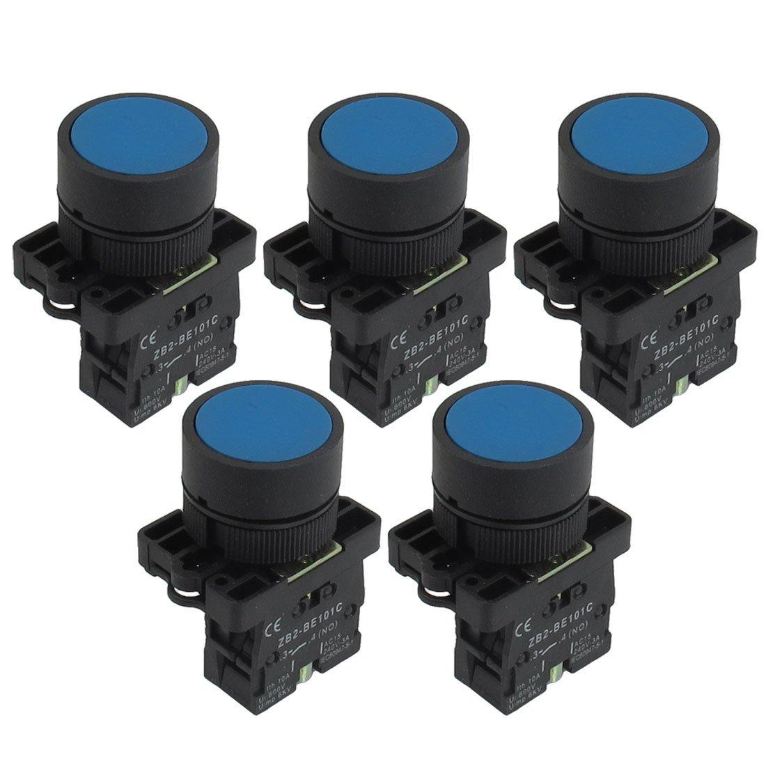 5 x 22mm 1 NO N/O Azul Signo Momentáneo Pulsador Conmutador 600V 10A ZB2-BE101C