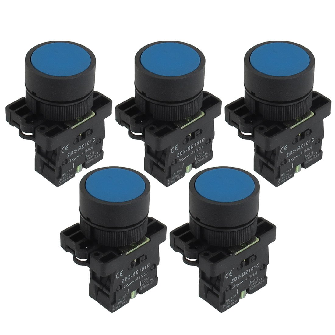 Uxcell a12082000ux0364 1 NO N/O Blue Sign Momentary Push Button Switch, 5 x 22 mm, 600V, 10 Amp, ZB2-BE101C