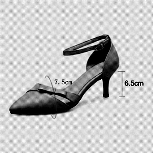 Sandals Heeled Bow Nude Wedding Female Leather Women Court Shoes High MuMa Pointed Female Shoe Color New Black Shoes Shoes Shoes White vAEUZfqwU