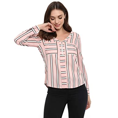c00fac60841 Spotstyl Pink Stripe Women Shirts Casual Tops for Women Western Casual  Latest Summer 2019 Women Tops Western Tops for Women Styish Fancy Women  Apparel ...