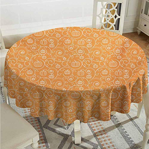 XXANS Round Outdoor Tablecloth,Harvest,Pattern with Pumpkin Leaves and Swirls on Orange Backdrop Halloween Inspired,for Events Party Restaurant Dining Table Cover,55 INCH,Orange White]()