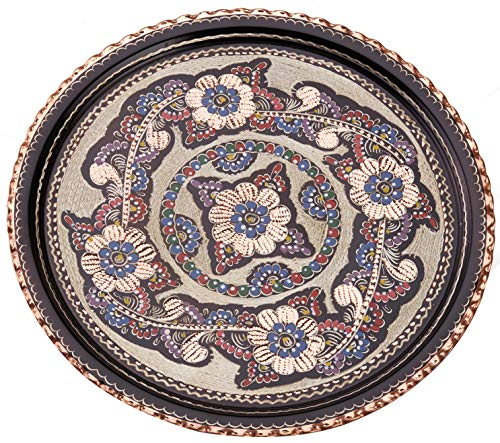- Palace Tray - Ottoman Style Handmade Handpainted Decorative Copper Round Guest Serving Tray