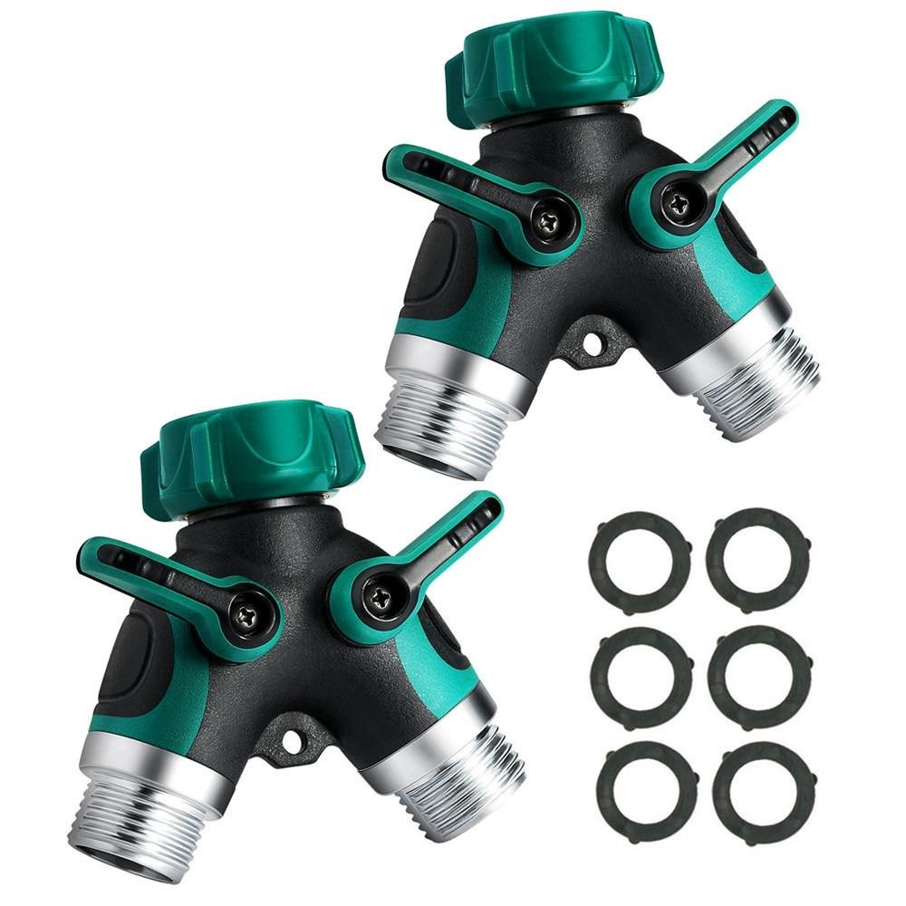 JDgoods 2Pcs Garden Y Hose Connector Hose Splitter Comfortable Easy Grip Rubberized