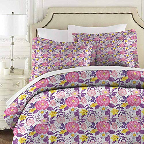 Garden Art Comforter Bedding Set Delicate Blossoms Cal King (104x98 inches) - 3 Pieces (1 Duvet Cover + 2 Pillow Shams) - with Zipper Closure Ultra