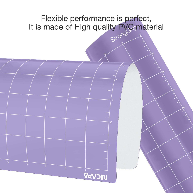 NICAPA Alfombrilla de corte de repuesto para Cricut Explore One//Air//Air 2//Maker 4 unidades, 12 x 12 pulgadas, adhesiva, antideslizante, flexible, cuadrada
