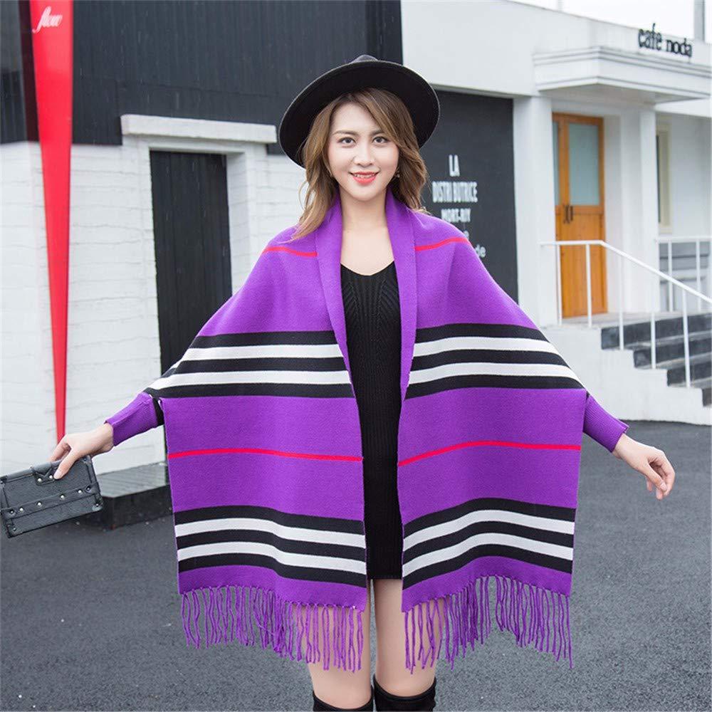 purple Ladies Women's Shawl Wrap Stole Autumn Winter Horizontal Strip Thick Long Sleeve Shawl Cloak Jacket