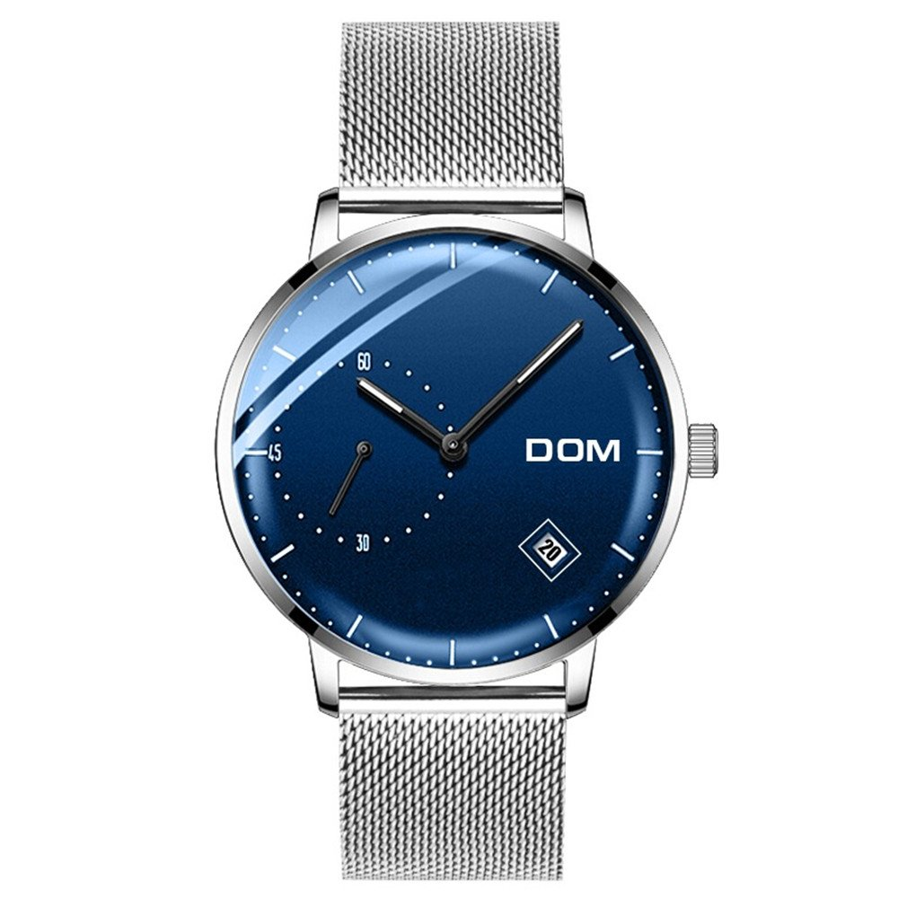 Man Silver Milanese Mesh Watch Blue Face Domed Glass Calendar Luminous Watches (blue)