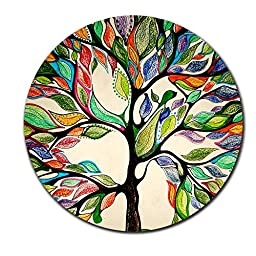 Tree of Life Gorgeous Like Leather Customized Round Mouse Pad