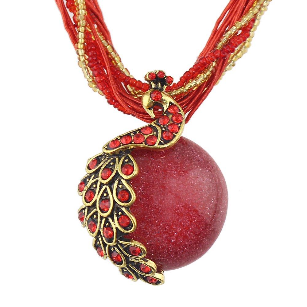 Bohemian Colorful Beads Stone Peacock Long Pendant Necklace Feelnear