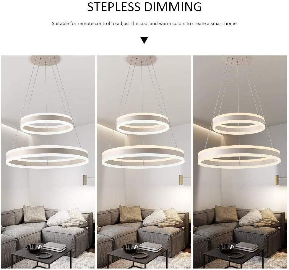 HFMY Modern Double Layer Acrylic Pendant Light Creative 2-Ring Adjustable LED Chandelier Silver