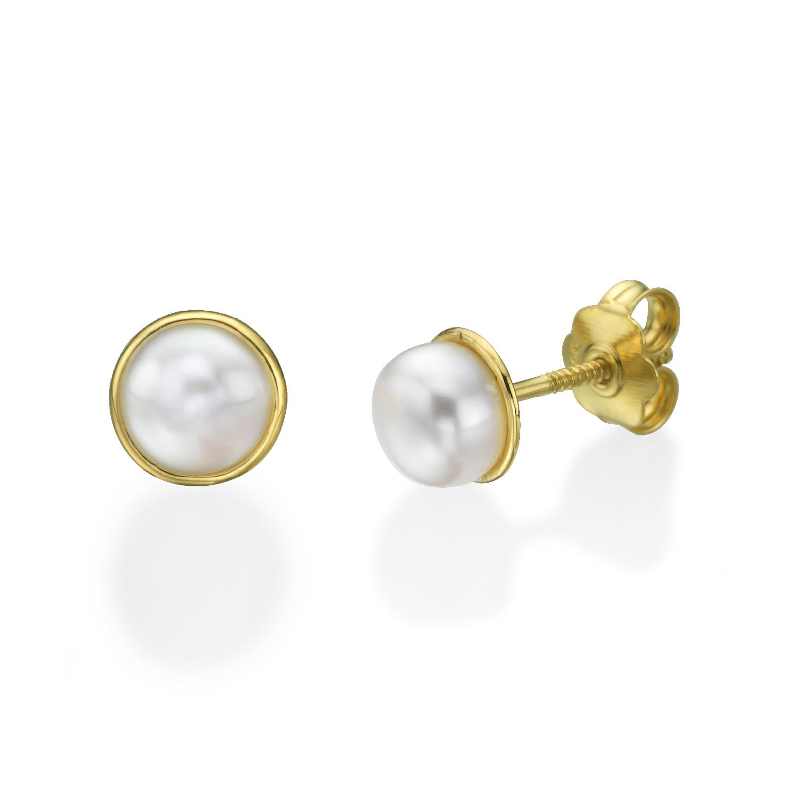 14K Fine Yellow Gold Pearls Round Screw Back Stud Earrings for Teens and Women Children Gift Kids