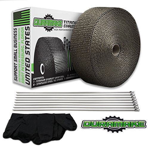 Duramake Titanium Exhaust Wrap 50 ft - 2 in Header Heat Wrap & Pipe Insulation Roll With (8 pack) of 12 in Stainless Steel Zip Tie Straps for Motorcycles - Hot Rods - Racing - Marine - Basalt - Lava