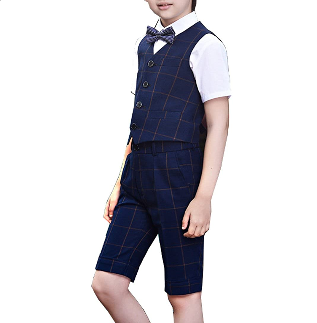 1361ab673cc2b Boys Summer Formal Suits Vest Shorts Shirt Bow Tie 4 Pieces Blue and ...