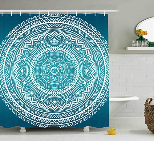 Ambesonne Turquoise Ombre Shower Curtain, Mandala Medallion Starry Design with Flower in Middle Ethnic Ethnic Art, Fabric Bathroom Decor Set with Hooks, 75 Inches Long, Dark Turquoise