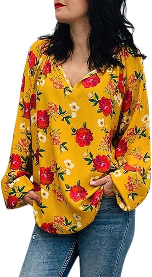 Camisas Estampadas Flores Mujer Blusas Sueltas de Manga Larga Tops Llamativo Camisa Fiesta Elegante Ropa Adolescente Casual Otoño: Amazon.es: Ropa y accesorios