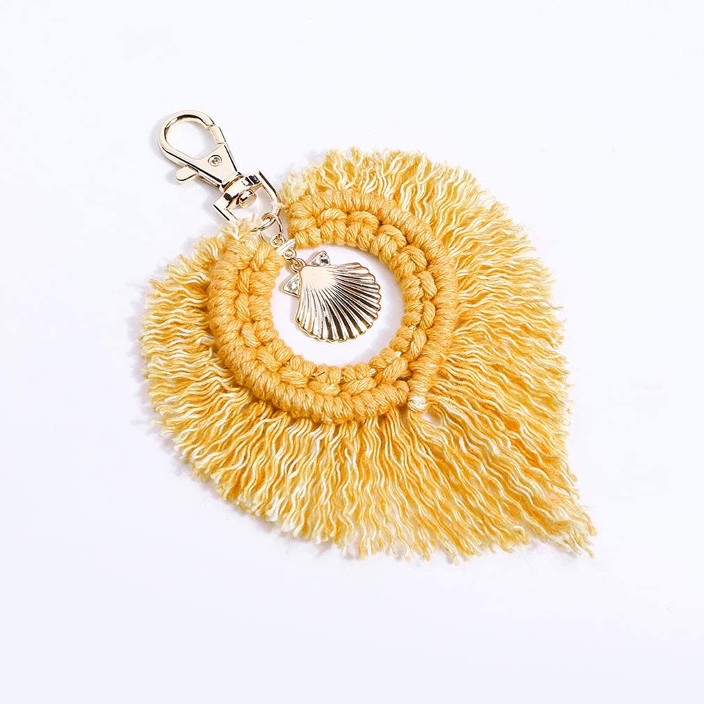 TraveT Bohemain Tassel Bag Charm Key Chain Boho Metal Beach Shell Keychain Car Keyring Charm Handbag Bag Purse Pendant
