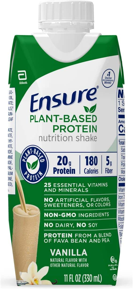 Ensure 100 Plant-Based Vegan Protein Nutrition Shakes with 20g Fava Bean and Pea Protein, Vanilla, 11 fl oz, 12 Count