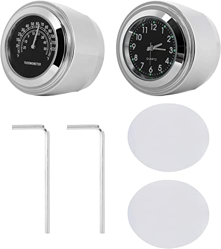 WINOMO 2pcs Motorcycle Handlebar Clock and Thermometer
