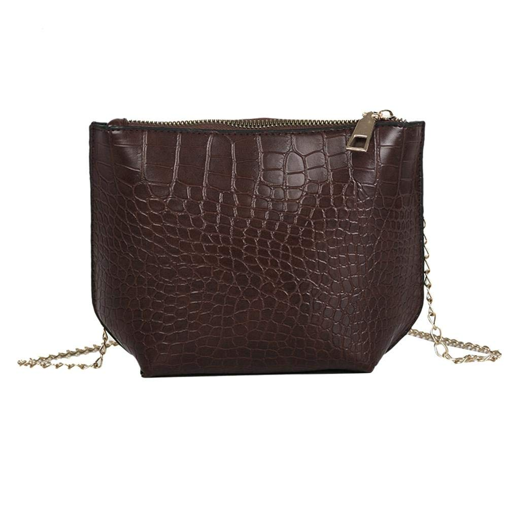 Amazingdeal Leather Stone Pattern Shoulder Bags Women Chain Messenger Bags Dark Brown