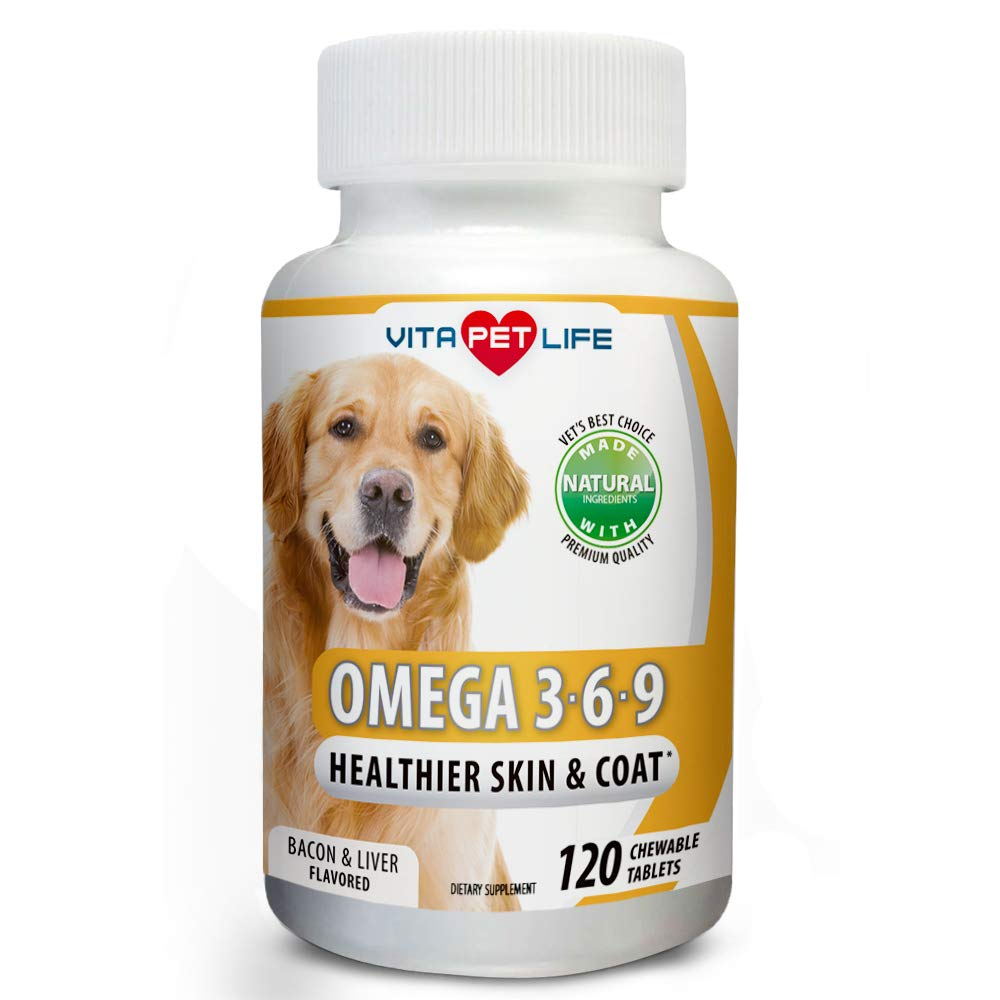 Omega 3 6 9 for Dogs, Fish Oil, Flaxseed Oil, DHA EPA Fatty Acids, Brain Health, Shiny Coat, Itchy and Dry Skin Relief, Immune System Support, Anti Inflammatory,120 Natural Chew-able Tablets. by Vita Pet Life