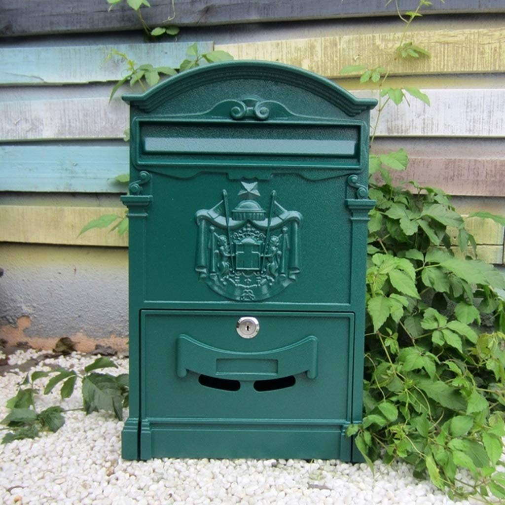 CJH Retro Aristocratic Logo Waterproof Mailbox European Villa Wall Hanging Mailbox Outdoor Creative Postbox with Lock Suggestion Box Shawen Green by CJH
