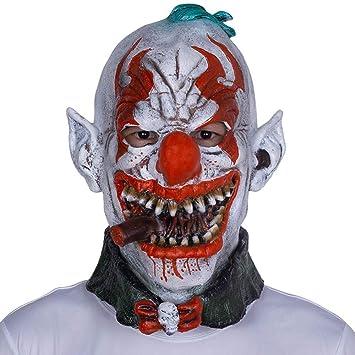 HOQTUM Máscara de Halloween ecológico Látex Horror Fumar Máscara de Payaso Fiesta de Halloween Divertido Bola