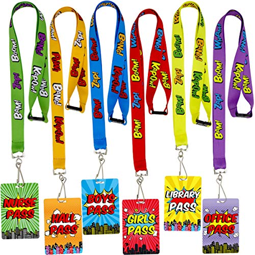 Superhero Hall Pass Lanyards and School Passes Set of 6 -