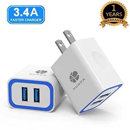 Wall Charger Adapter, HUNDA [2 Pack] 17W/3.4A Dual Port Smart Charger Compatible iPhone Xs MAX XR X 8 8Plus iPad Samsung Kindle Tablet and Other All ...
