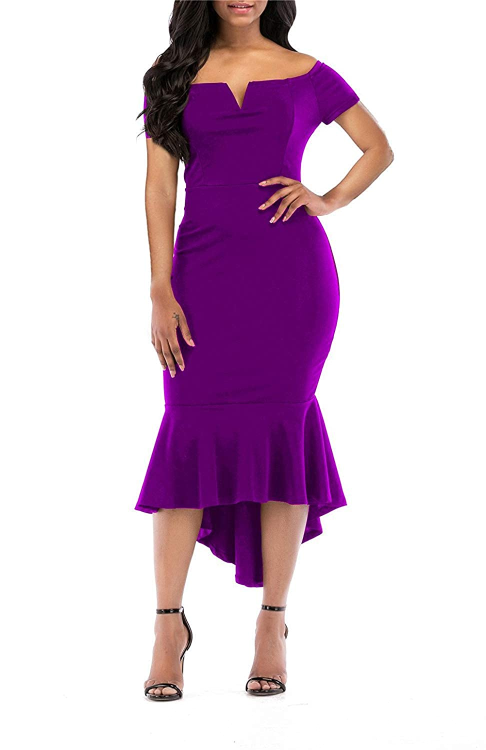TALLA XL. KISSMODA Vestidos Midi para Mujer Off The Shoulder High Low Bodycon Vestido de Noche de Sirena S-púrpura XL