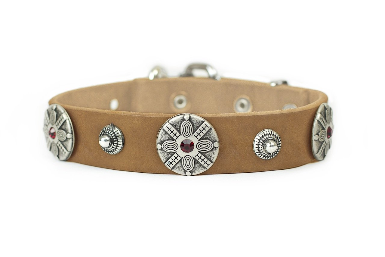 Dean and Tyler  SHAKA  Dog Collar With Nickel Buckle Tan Size 56cm By 4cm Width. Fits neck size 20 Inches to 24 Inches.