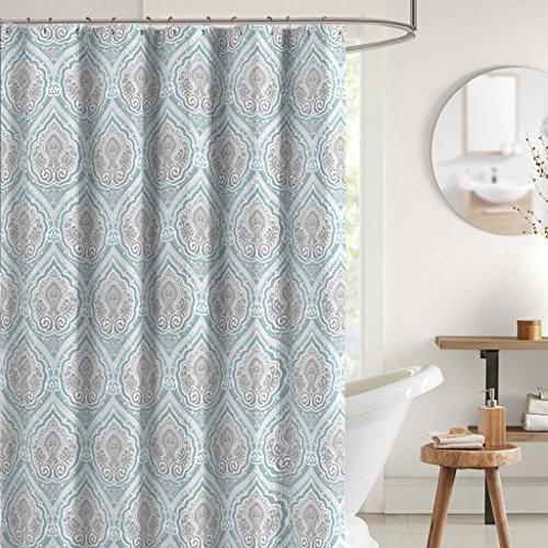 Bright Aqua Grey White Fabric Shower Curtain: Decorative Floral Paisley Damask Design, 70