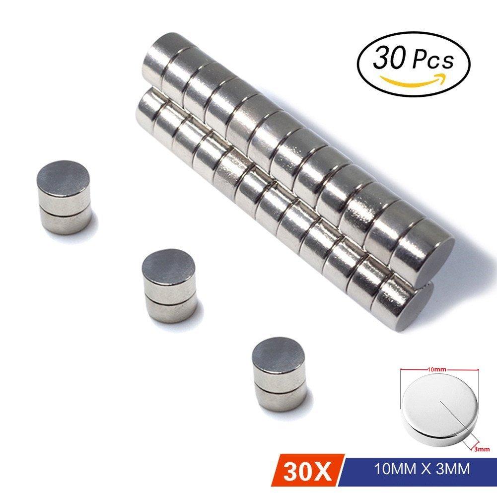 Aimants en né odyme Super Fort N52 Petit Rond Rare Earth pour Refridgerator DIY Crafts loisirs et bureau 10 mm x 3 mm Lot de 30 MagnetPow
