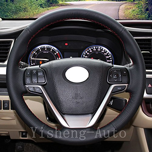 Eiseng Authentic Leather Steering Wheel Cover for 2015 2016 2017 2018 Toyota Sienna Minivan / for 2014-2018 Toyota Highlander SUV Interior Accessories Stitch on Wrap Needles 15 inchs (Red (Sienna Authentic Leather)