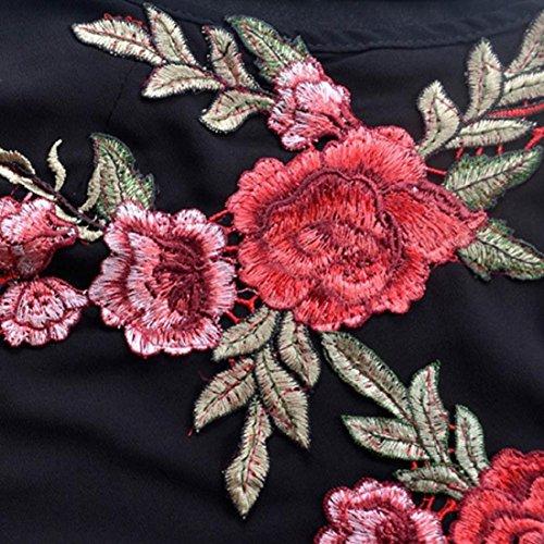 Damen Kleider,PAOLIAN Frauen Rückenfrei Chiffon ärmelloses Minikleid Blumen Stickerei Strandkleid A-Linie Weste Partykleid Schwarz