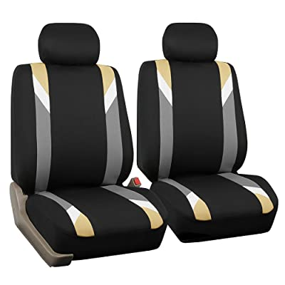FH Group FB033BEIGE102 Bucket Seat Cover (Modernistic Airbag Compatible (Set of 2) Beige): Automotive