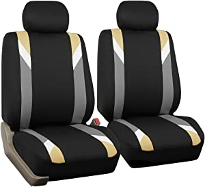 FH Group FB033BEIGE102 Bucket Seat Cover (Modernistic Airbag Compatible (Set of 2) Beige)