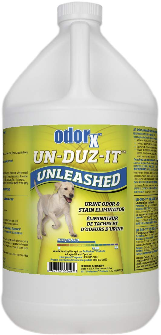 ODORx Un-Duz-It Unleashed Pet Urine Odor and Stain Eliminator, Highly Effective One-Step Commercial Formula, Enzyme Action, 1.Gal by ProRestore Products