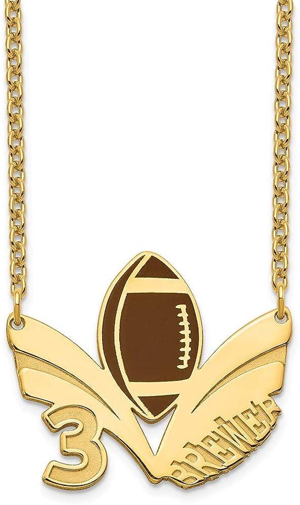 Roy Rose Jewelry フットボールペンダントネックレス カスタマイズ可 スポーツ選手番号と名前 ゴールドまたはスターリングシルバー