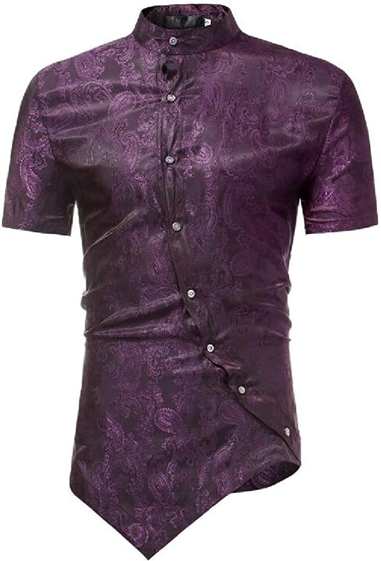 WAWAYA Mens Button Down Business Short Sleeve Print Irregular Dress Shirts