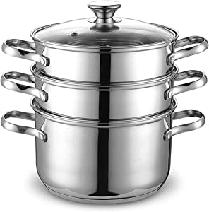 DONSU 28CM Stainless Steel 3 Tier Premium Heavy Duty Stainless Steel Kitchen teamer Pot Steaming Cookware Set with Tempered Glass Lid for Clear View while Cooking