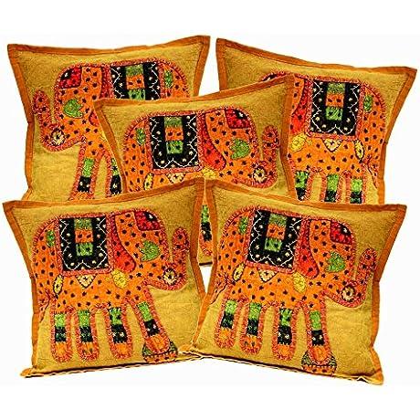 5Pcs 100Pcs Amazing India Patchwork Light Brown Elephant Design Home Decor Cushion Covers Wholesale Lot